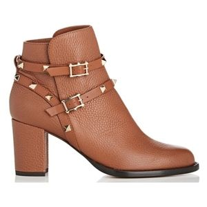New Valentino Rockstud Boots Brown Leather SZ 37.5